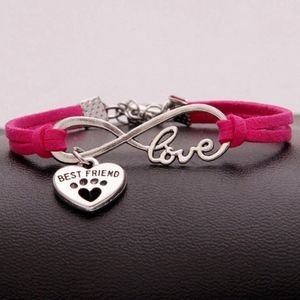 Jewelry - Infinite Pet Paw BFF Love Fuchsia Leather Bracelet